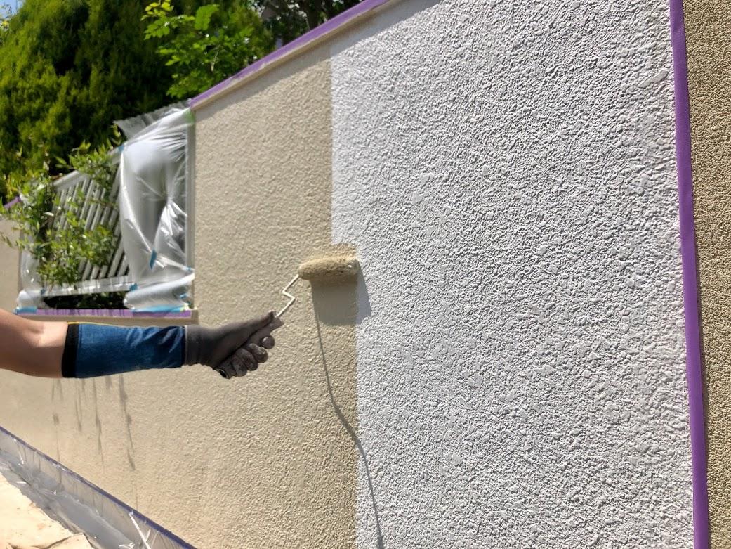 長久手市の玄関塀塗装